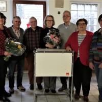 zeigt v.li. Kathi Petersen, Othmar Röhner, Rainer Rummert, Traudel Steinmüller, Peter Then, Gerti Rüth und Hanne Kranz